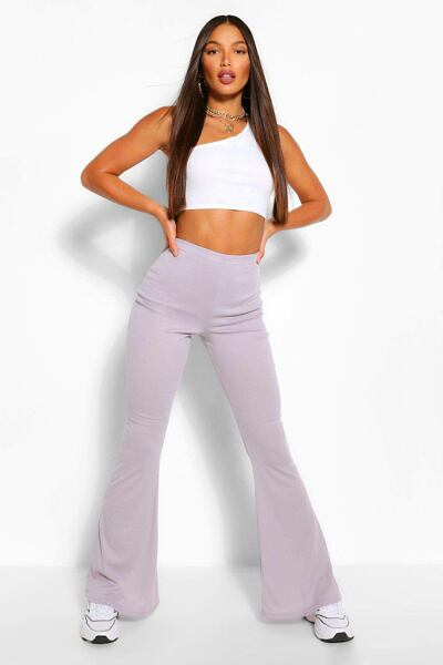 Boohoo Womens Tall Soft Rib Flared Trousers UK WOMEN Women FASHION Womens TROUSERS