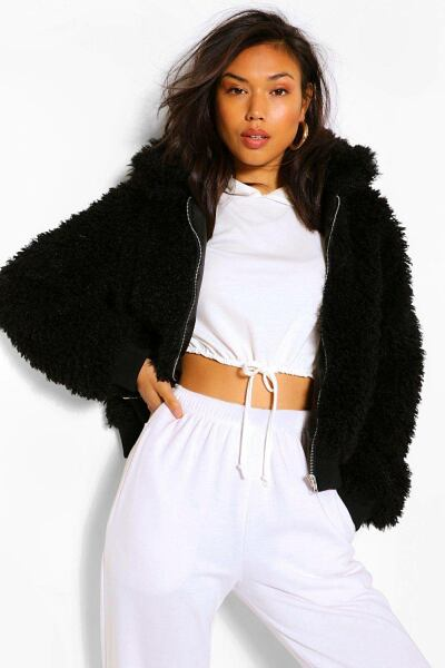 Boohoo Womens Textured Teddy Faux Fur Jacket UK WOMEN Women FASHION Womens COATS