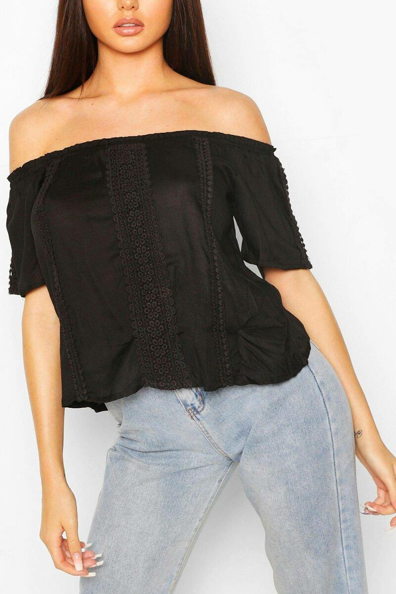 Boohoo Womens Woven Off The Shoulder Crochet Top UK WOMEN Women FASHION Womens TOPS