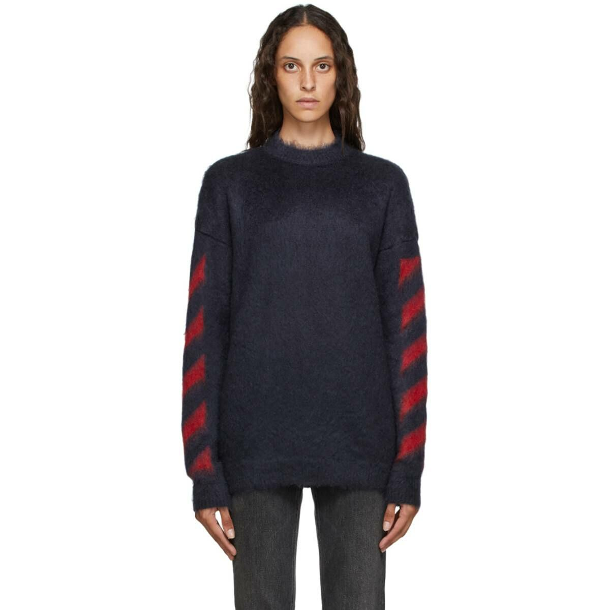 Off-White Navy and Red Mohair Diag Sweater Ssense USA WOMEN Women FASHION Womens KNITWEAR