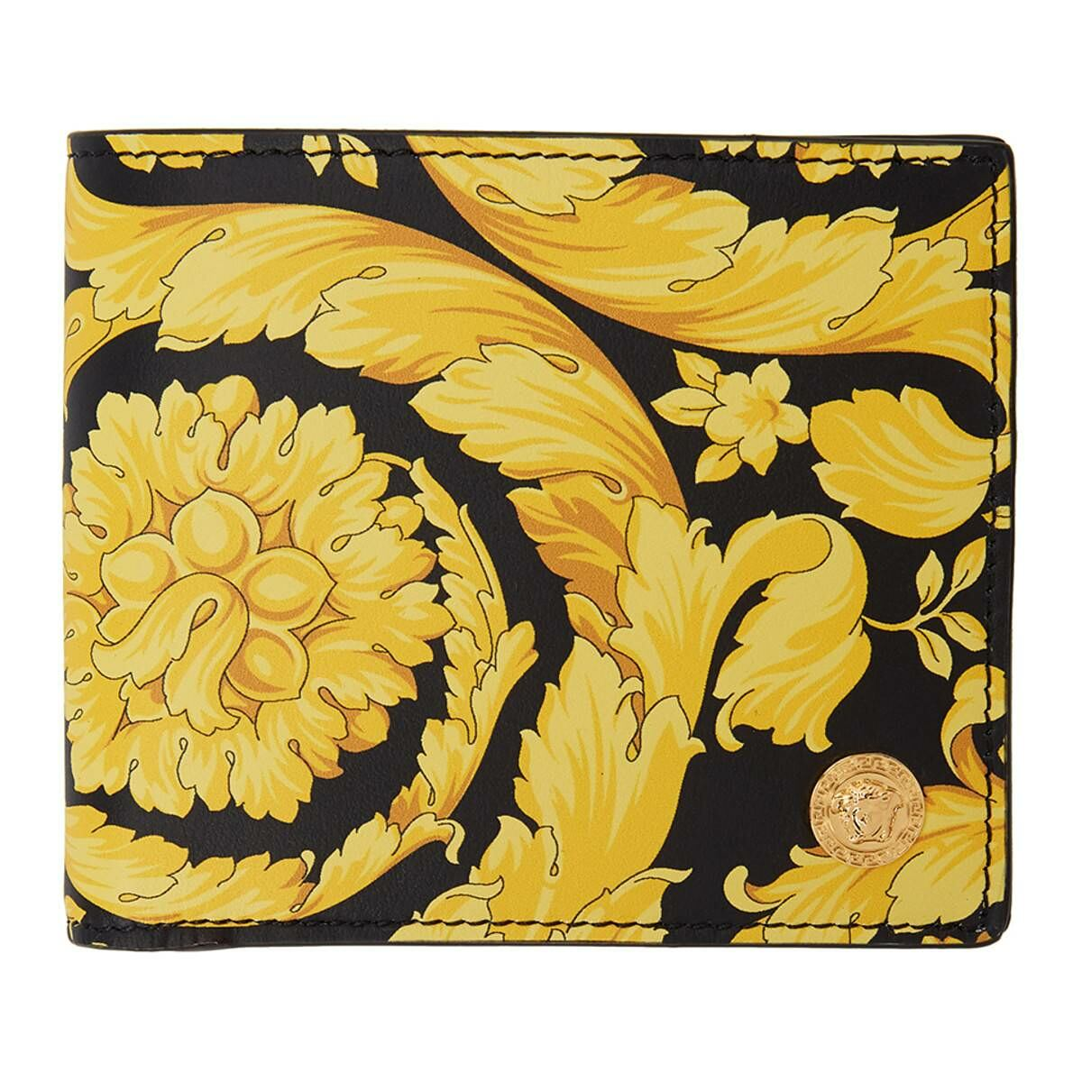Versace Black and Yellow Barocco Medusa Bifold Wallet Ssense USA MEN Men ACCESSORIES Mens WALLETS