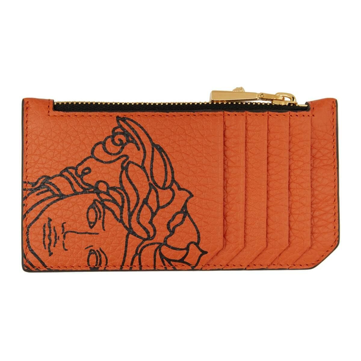 Versace Orange Pop Medusa Long Zip Card Holder Ssense USA MEN Men ACCESSORIES Mens JEWELRY