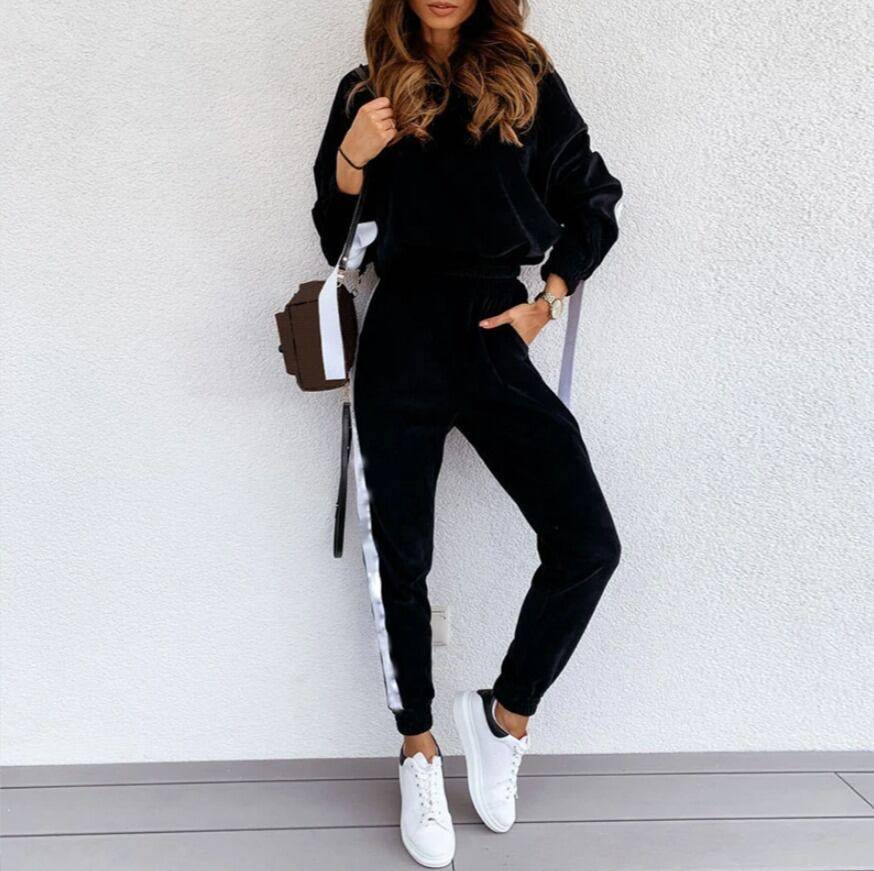 Suit with hooded sweater and casual pants Ads WOMEN Ads Women FASHION Ads Women SUITS WOMEN Women FASHION Womens SUITS