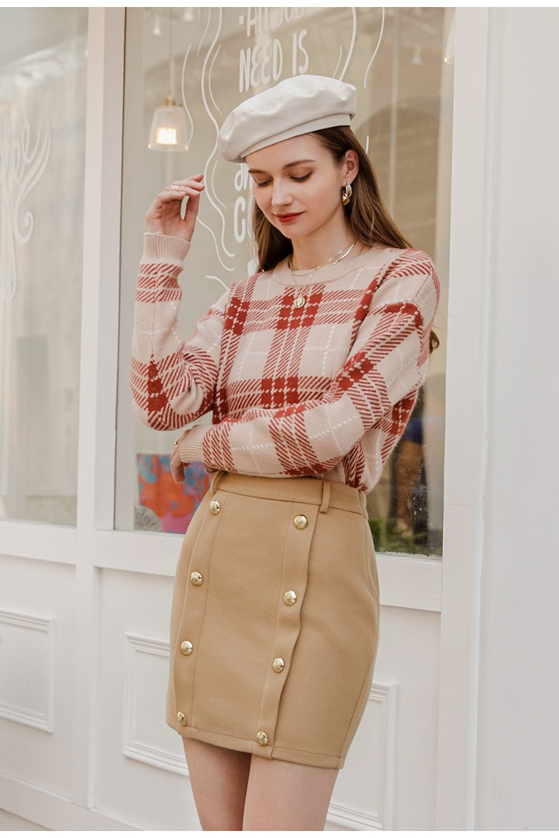 Simplee Elegant solid double breasted slim women skirt Middle waist bodycon mini skirt Office autumn winter short skirt ladies