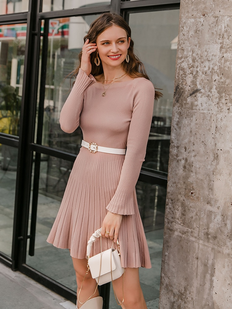 Simplee Warm winter women knitted dress Elegant office lady pink sweater dress A line pleated soft knits dress for autumn 2020