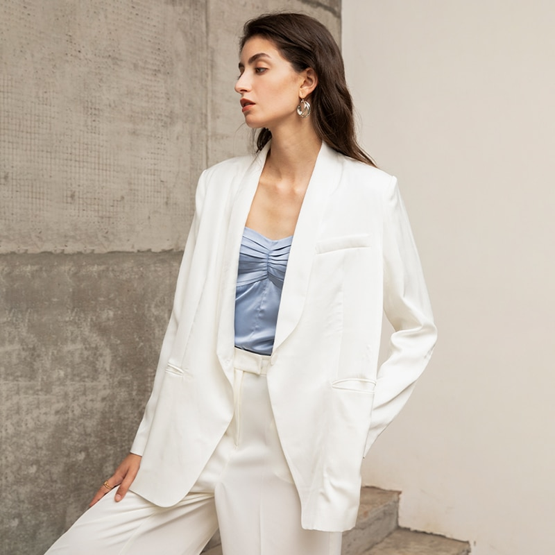 TWOTWINSTYLE Casual Side Split Blazer For Women Notched Long Sleeve Lace Up Bowknot White Blazers Female 2020 Fall Fashion New