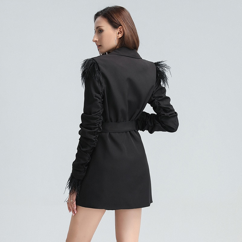 TWOTWINSTYLE Patchwork Feather Black Dress For Women Notched Long Sleeve High Waist Lace Up Casual Dresses Female 2020 Fall New