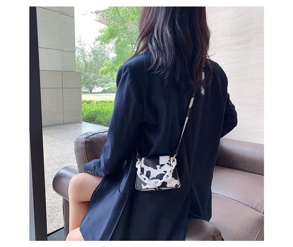 Milk Print Pattern Leather Crossbody Bags For Women 2020 Travel Handbag Fashion Simple Shoulder Bag Ladies CrossBody Bag