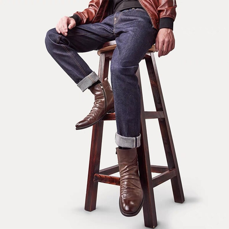 Casual autumn leather boots for men GOOFASH NEW 489461