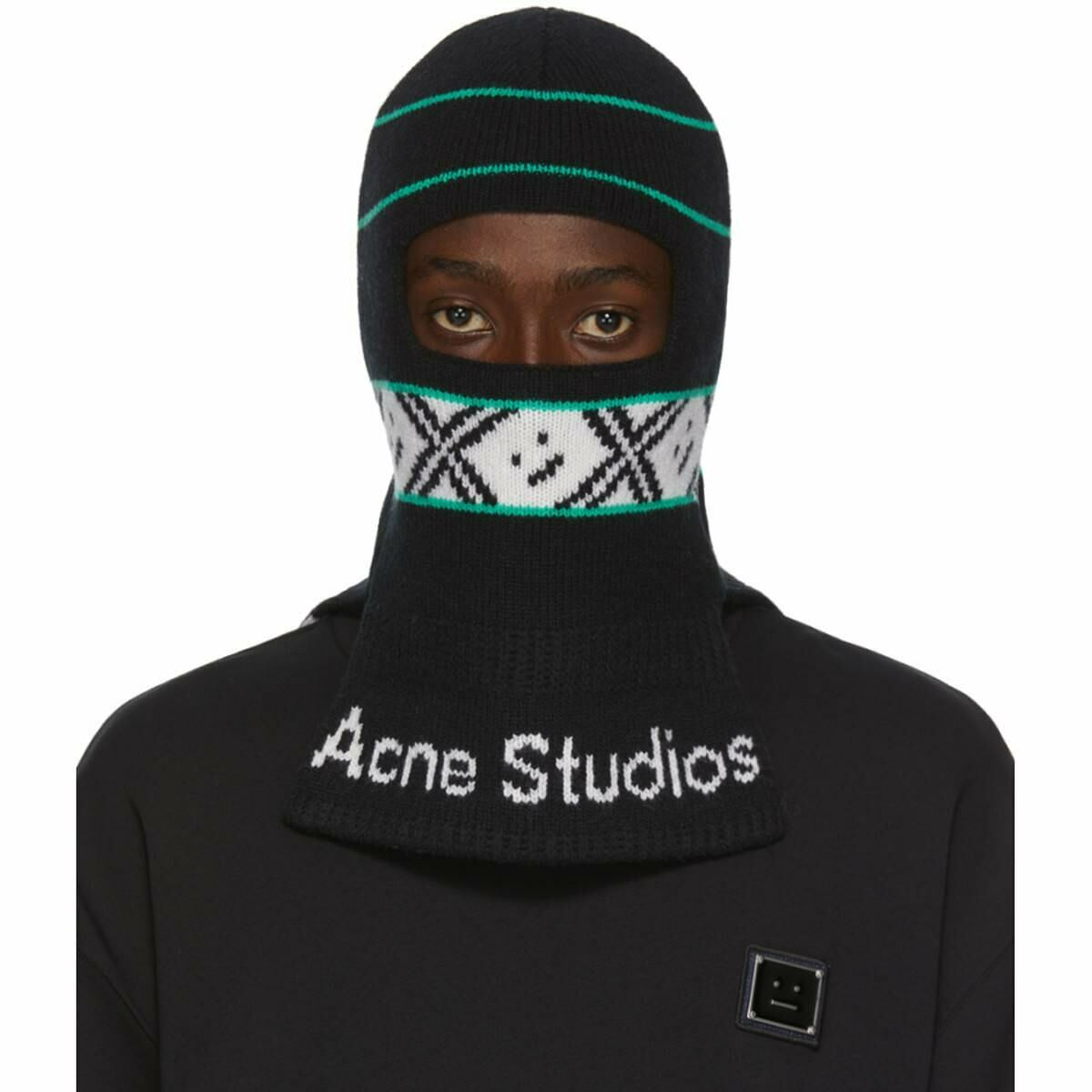 Acne Studios Black Jacquard Logo Balaclava Ssense USA MEN Men ACCESSORIES Mens SCARFS