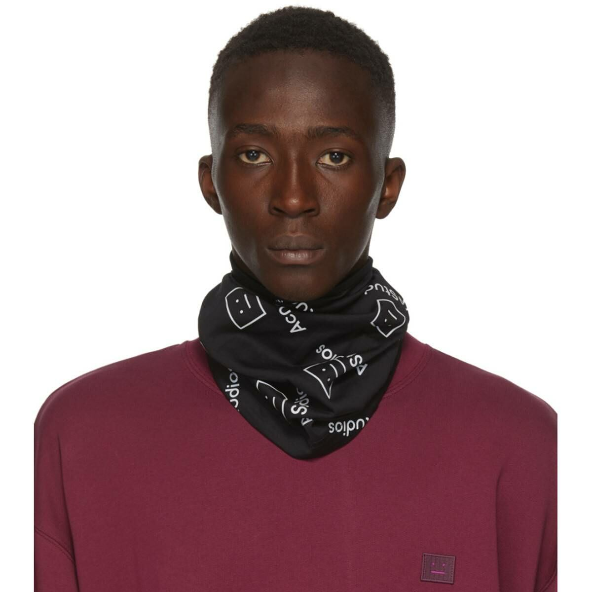 Acne Studios Black Motif Snood Ssense USA MEN Men ACCESSORIES Mens SCARFS