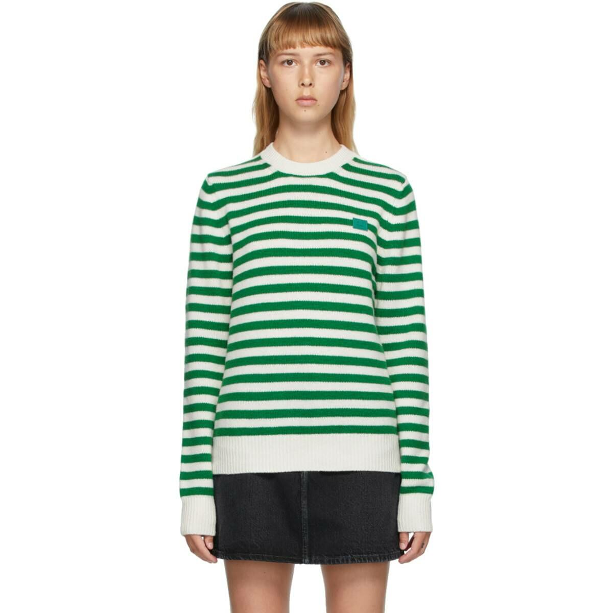 Acne Studios Green and White Breton Stripe Sweater Ssense USA WOMEN Women FASHION Womens KNITWEAR