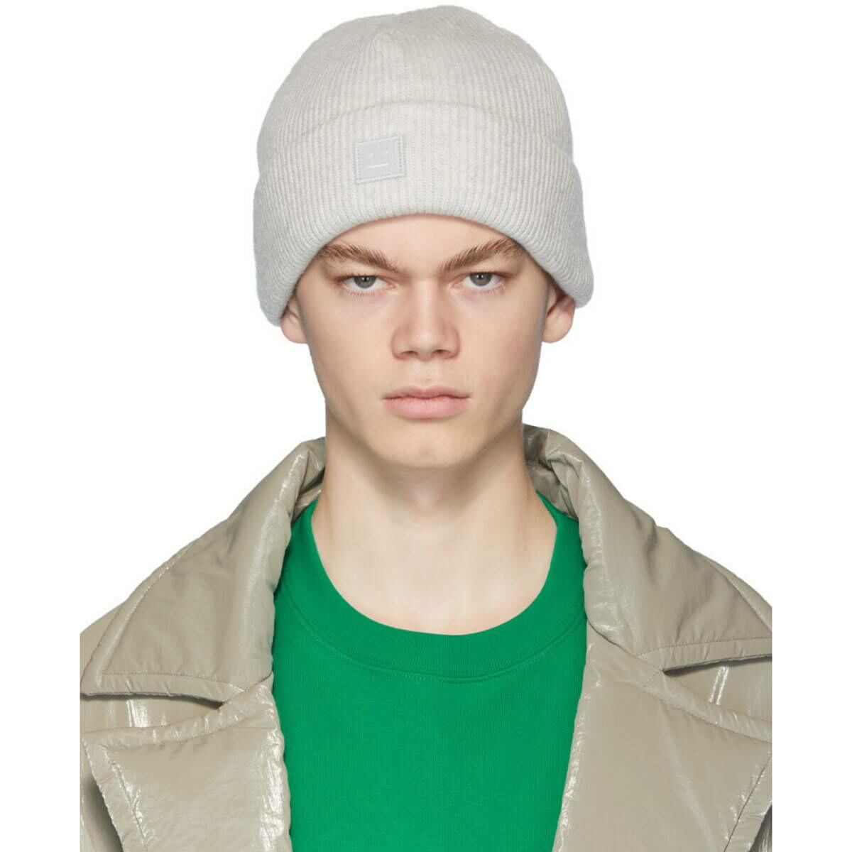 Acne Studios Grey Patch Beanie Ssense USA MEN Men ACCESSORIES Mens HATS