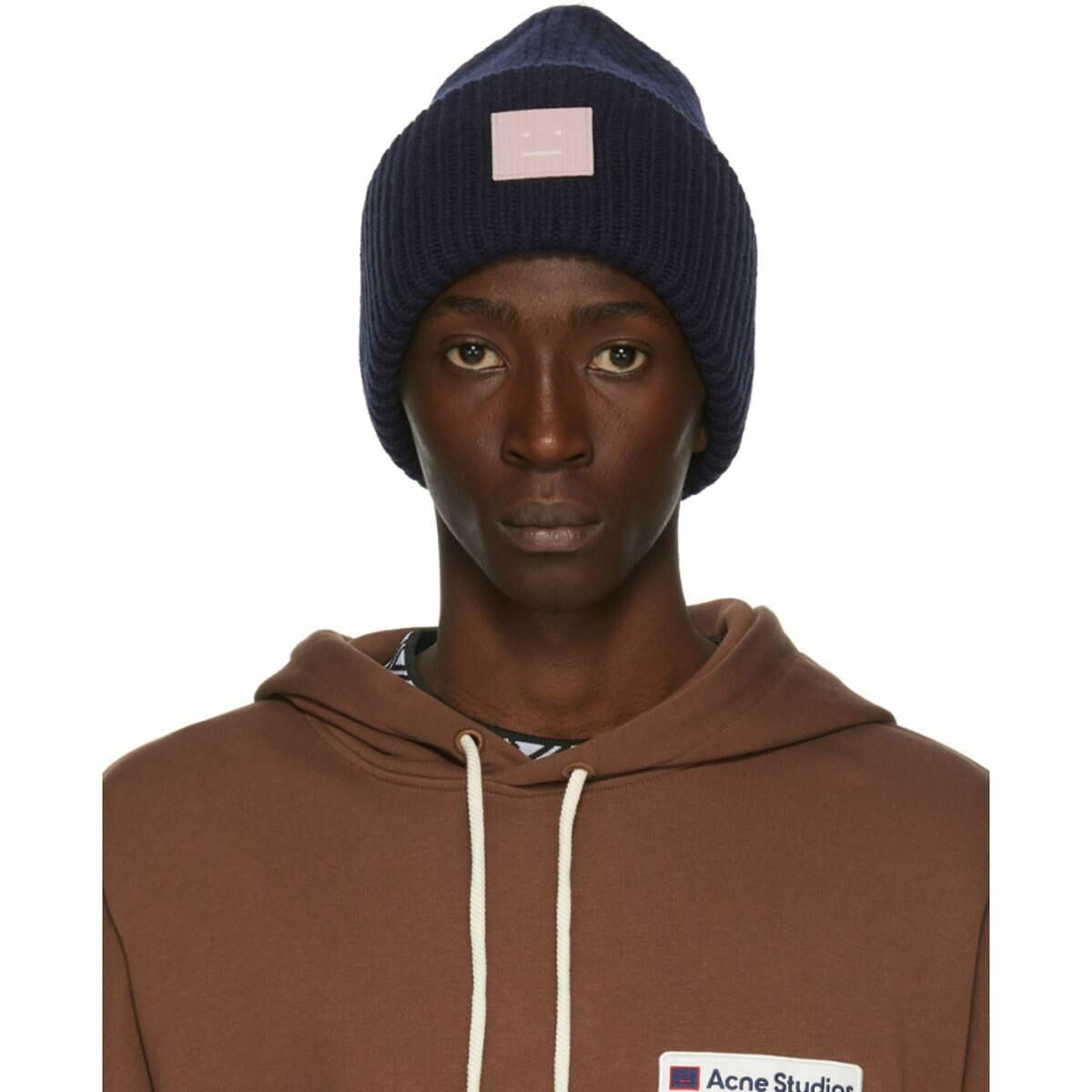 Acne Studios Navy and Pink Rib Knit Patch Beanie Ssense USA MEN Men ACCESSORIES Mens HATS