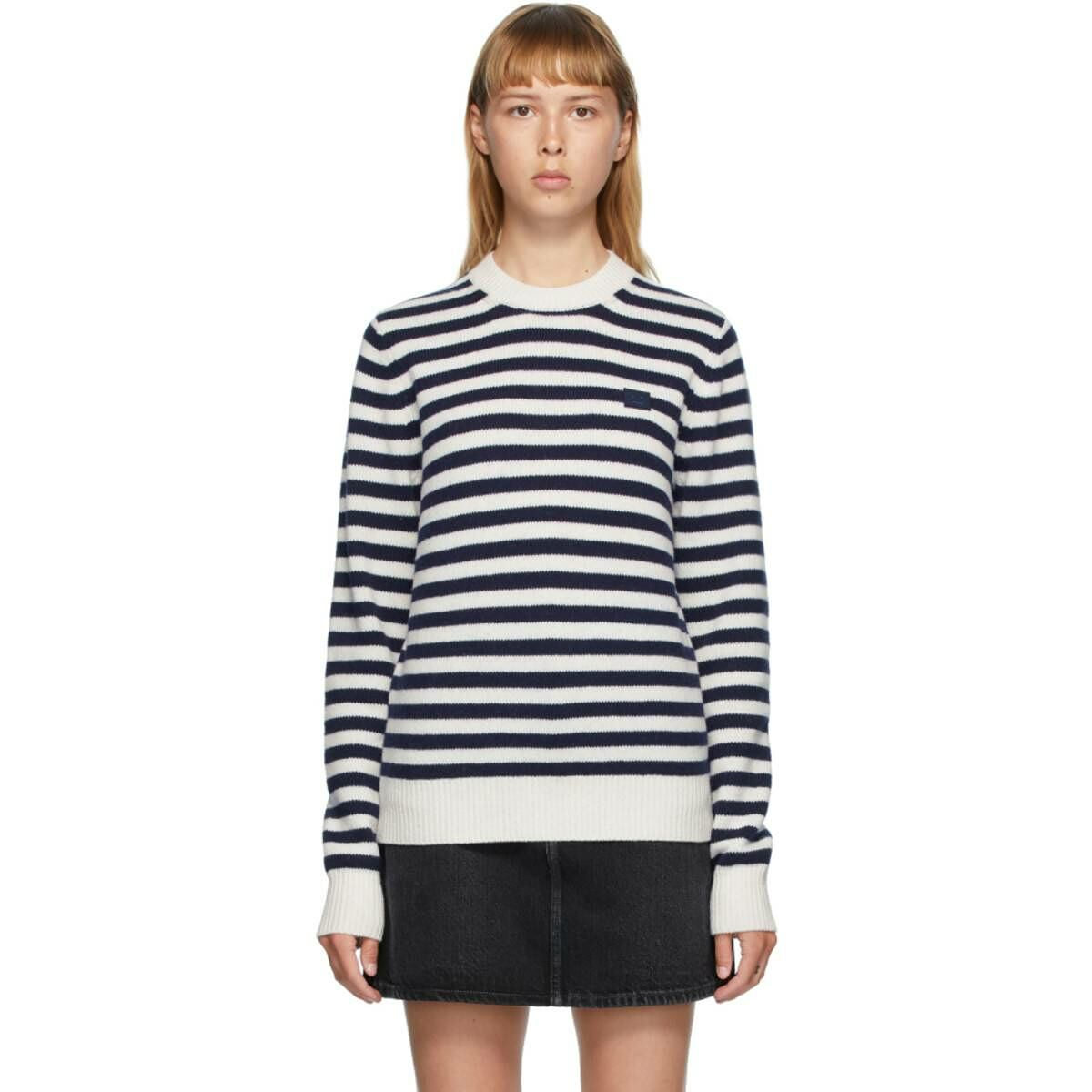 Acne Studios Navy and White Breton Stripe Sweater Ssense USA WOMEN Women FASHION Womens KNITWEAR