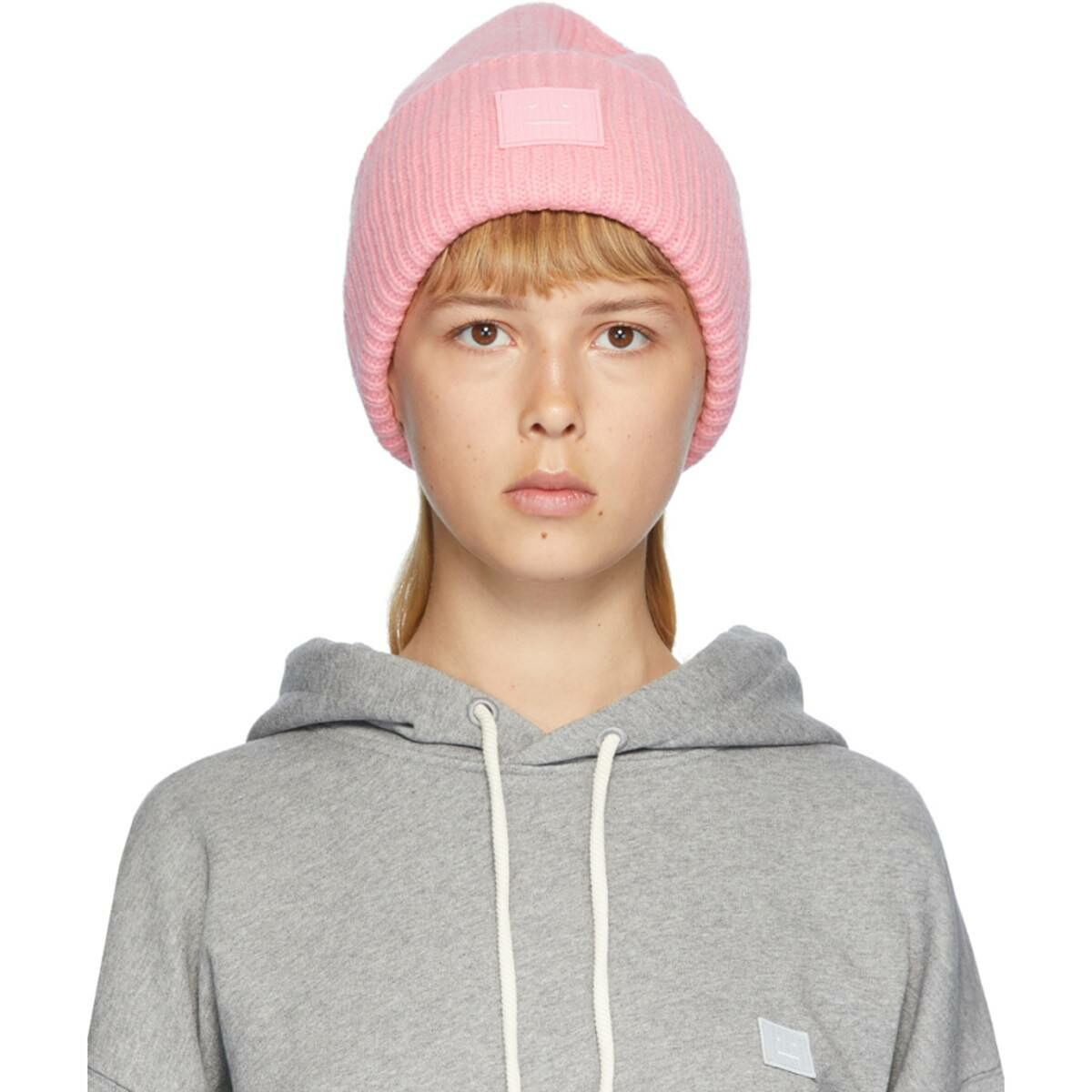 Acne Studios Pink Rib Knit Patch Beanie Ssense USA WOMEN Women ACCESSORIES Womens HATS