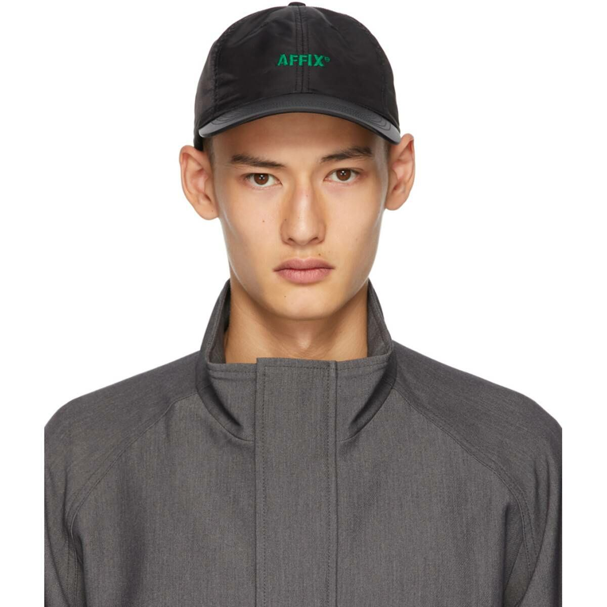 Affix Black Logo Cap Ssense USA MEN Men ACCESSORIES Mens CAPS