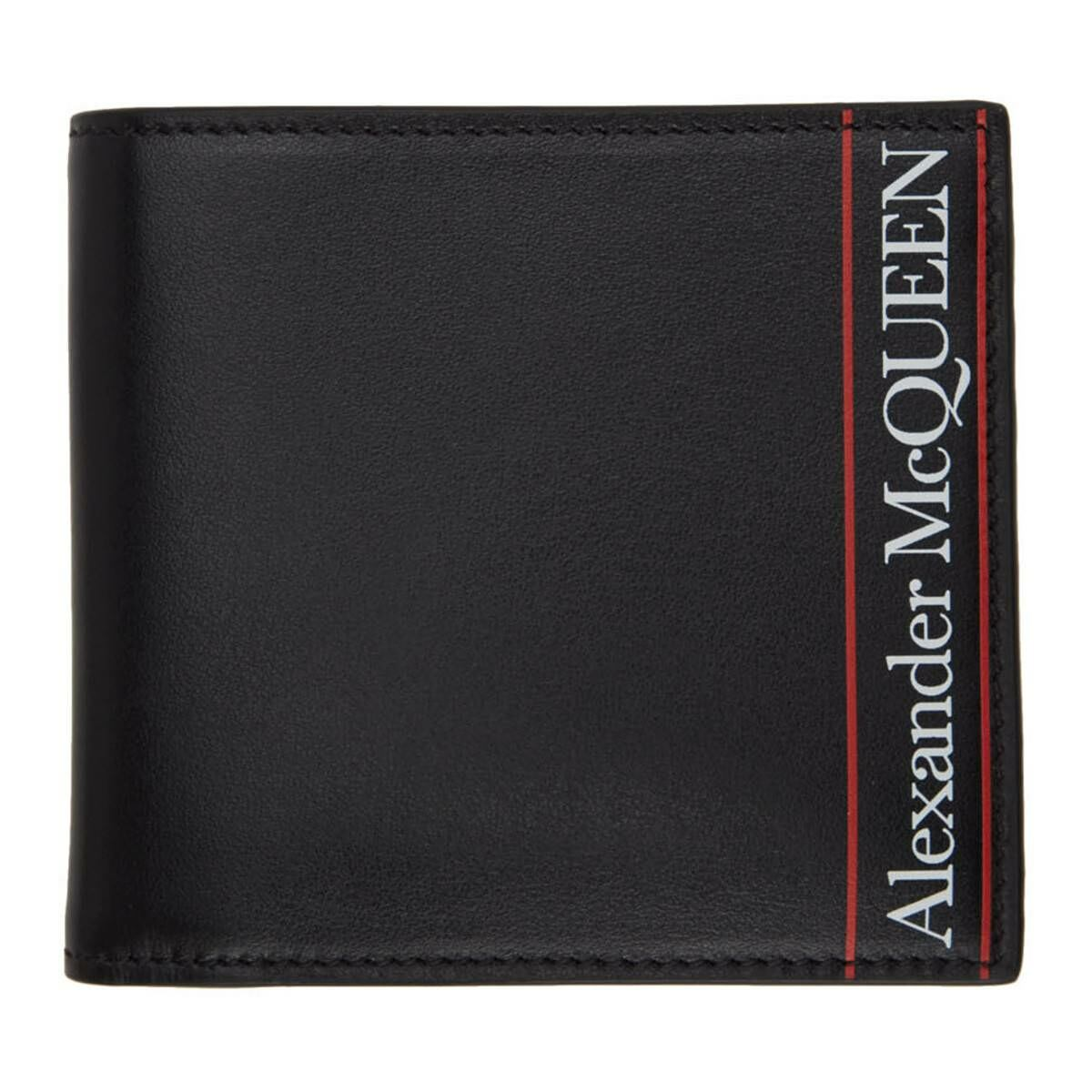 Alexander McQueen Black and Red Logo Bifold Wallet Ssense USA MEN Men ACCESSORIES Mens WALLETS