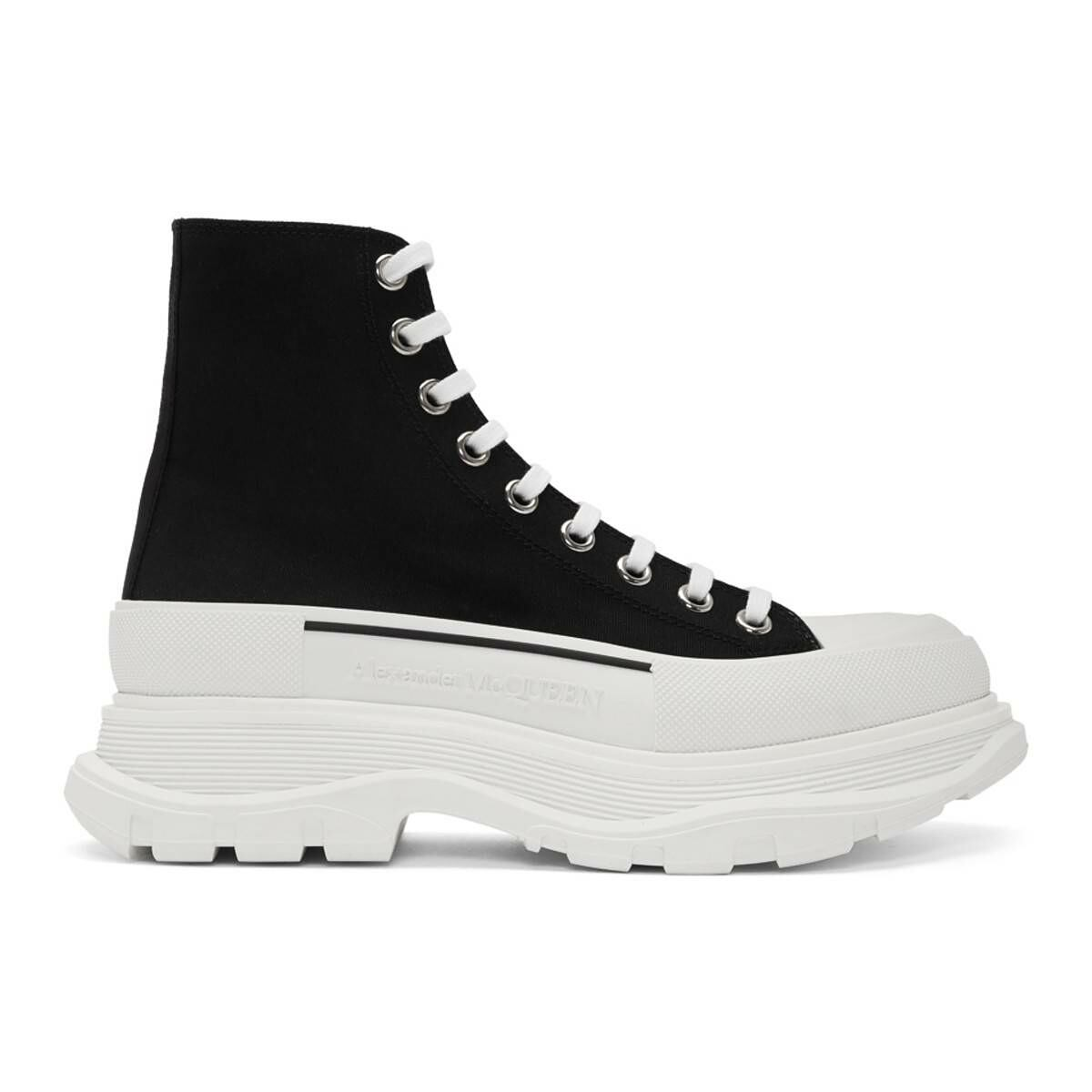 Alexander McQueen Black and White Canvas Lace-Up Boots Ssense USA MEN Men SHOES Mens BOOTS