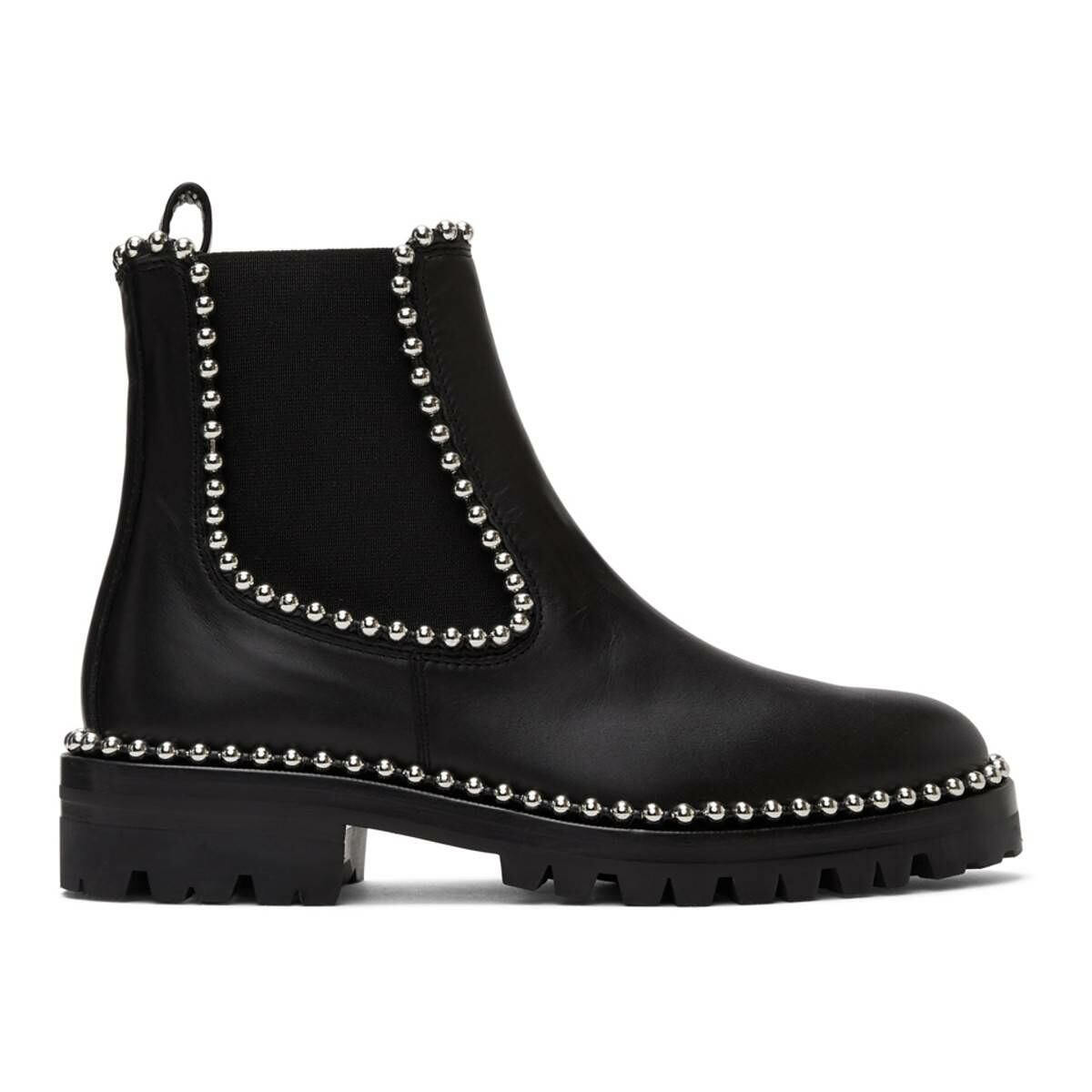 Alexander Wang Black Leather Spencer Boots Ssense USA WOMEN Women SHOES Womens ANKLE BOOTS