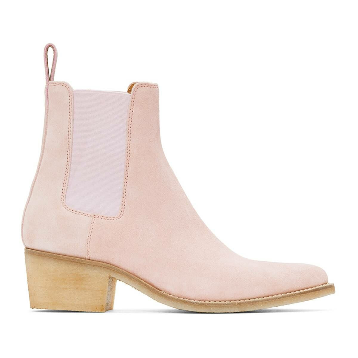 Amiri Pink Suede Pointy Toe Chelsea Boots Ssense USA MEN Men SHOES Mens BOOTS