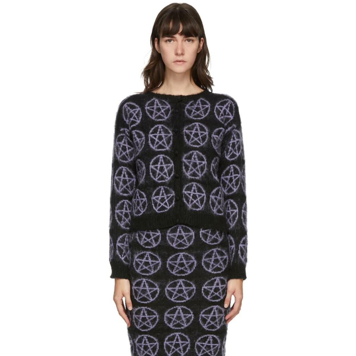 Ashley Williams Black and Purple Mohair Pentagram Cardigan Ssense USA WOMEN Women FASHION Womens KNITWEAR