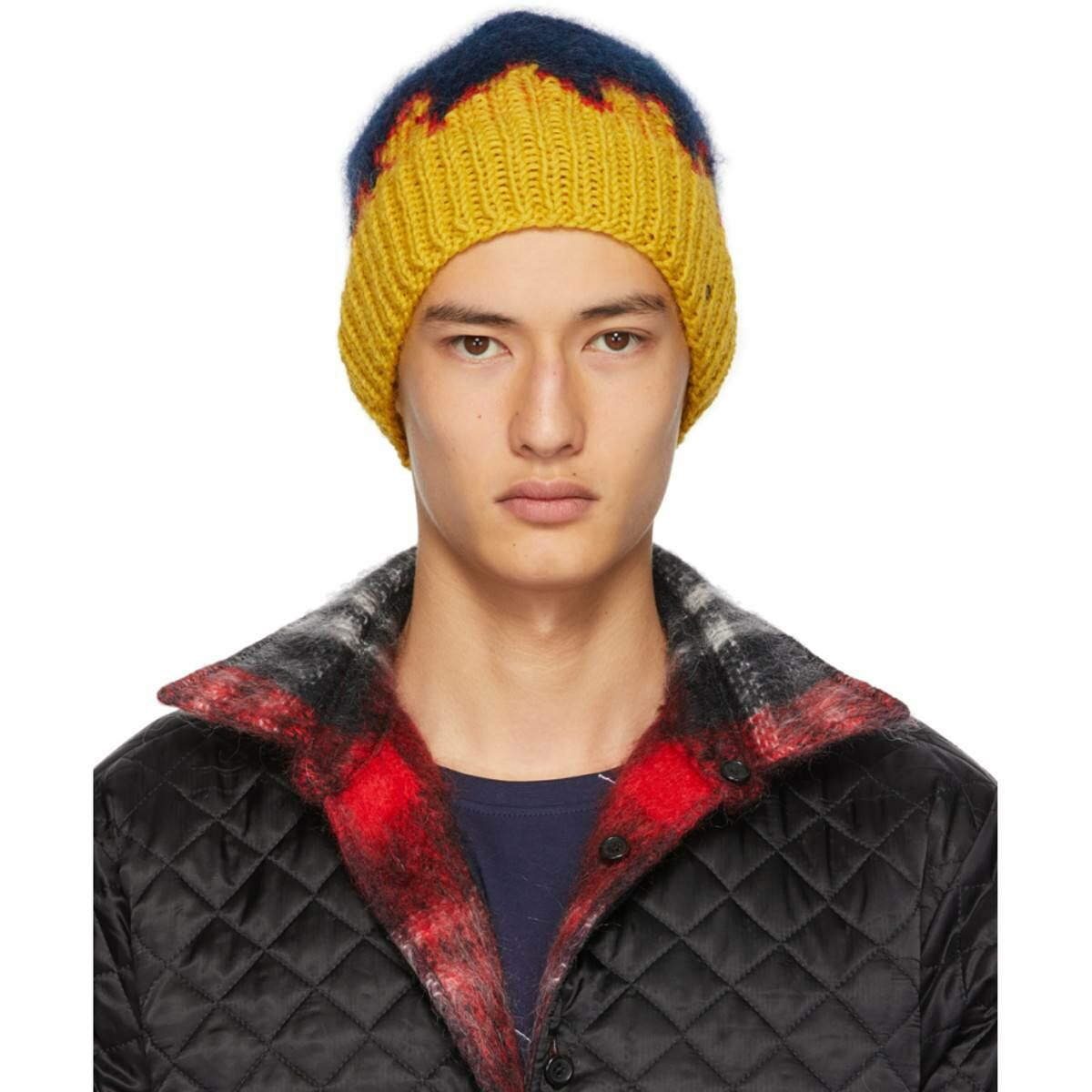 Bless Navy and Yellow Hand-Knit Flame Tongue Beanie Ssense USA MEN Men ACCESSORIES Mens HATS