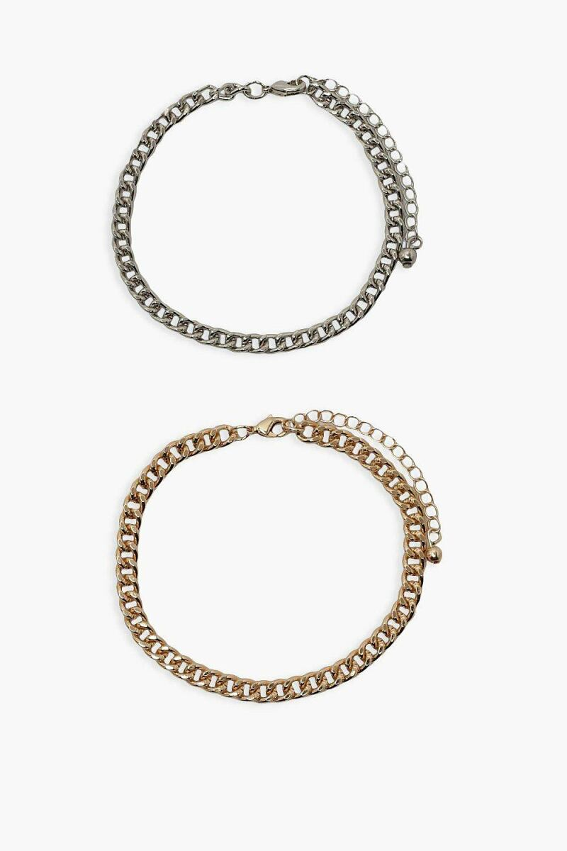 Boohoo Chain Bracelet 2 Pack NL WOMEN Women ACCESSORIES Womens JEWELRY
