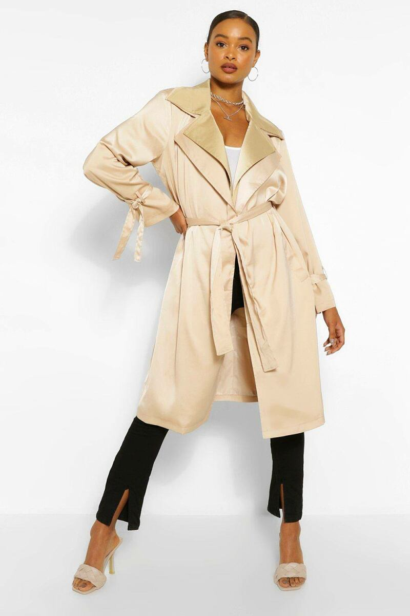 Boohoo Double Layer Oversized Trench Coat NL WOMEN Women FASHION Womens COATS