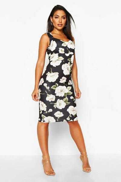 Boohoo Floral Sweetheart Midi Dress NL WOMEN Women FASHION Womens DRESSES