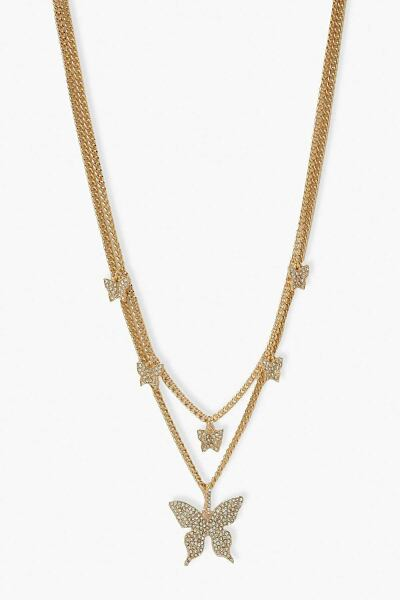 Boohoo Glam Layered Diamante Butterfly Necklace NL WOMEN Women ACCESSORIES Womens JEWELRY