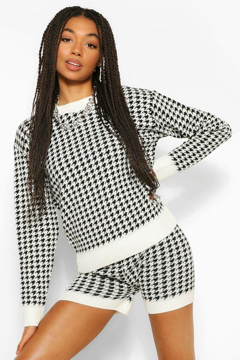 Boohoo Houndstooth Flannel Sweater And Short Co-Ord NL WOMEN Women FASHION Womens SHORTS
