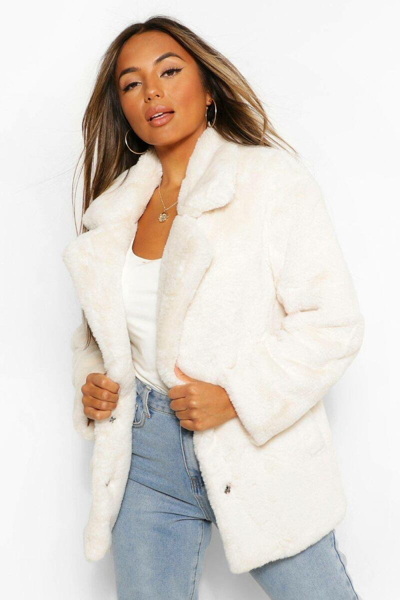 Boohoo Petite Oversized Collar Luxe Faux Fur Coat NL WOMEN Women FASHION Womens COATS