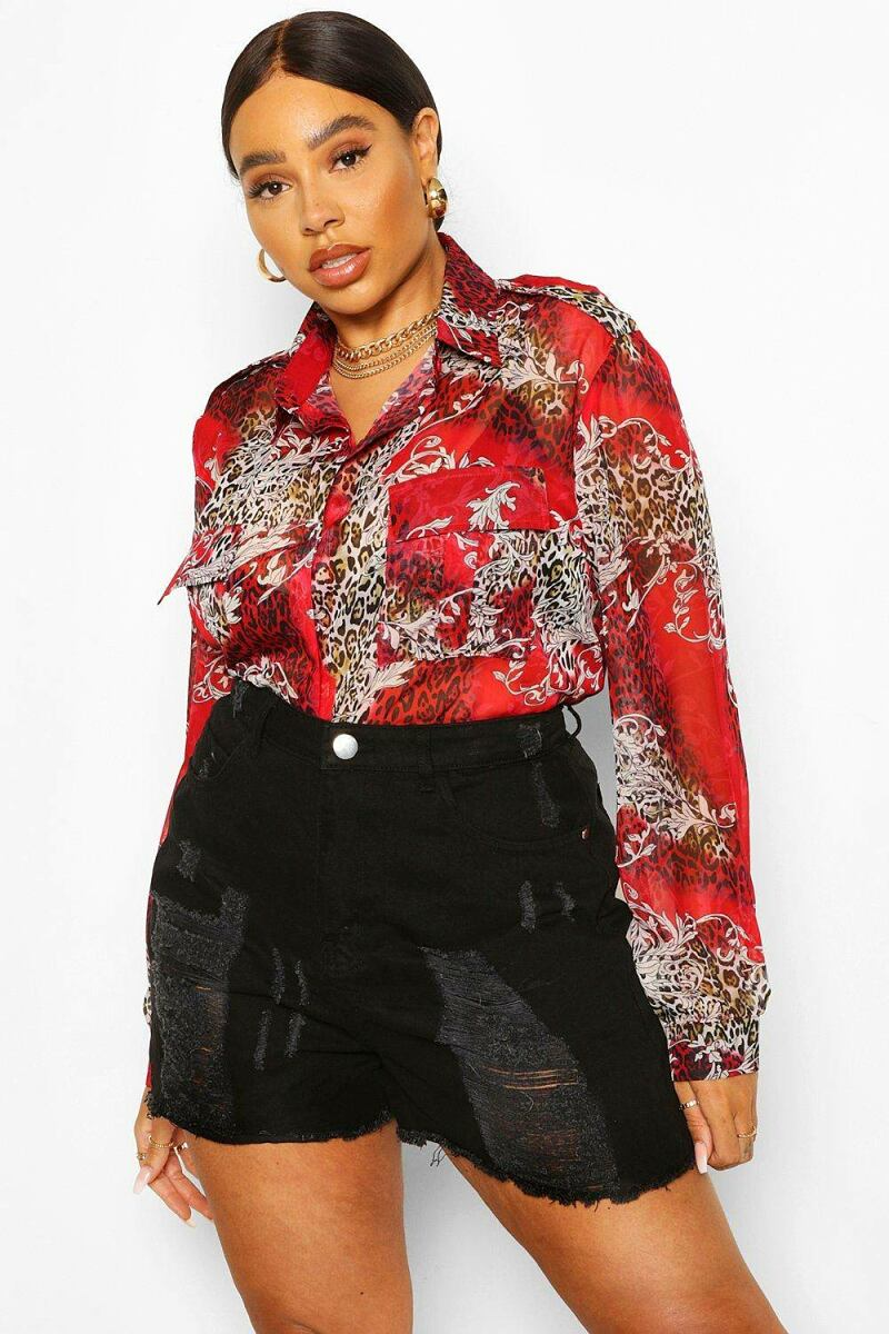Boohoo Plus Animal Baroque Shirt NL WOMEN Women FASHION Womens SHIRTS