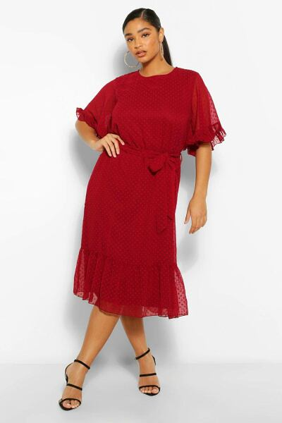Boohoo Plus Dobby Mesh Angel Sleeve Midi Dress NL WOMEN Women FASHION Womens DRESSES