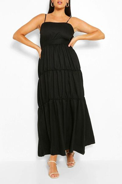 Boohoo Plus Tiered Strappy Maxi Dress NL WOMEN Women FASHION Womens DRESSES
