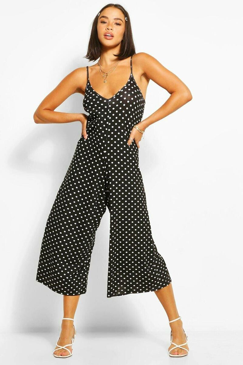 Boohoo Polka Dot Cami Culotte Jumpsuit NL WOMEN Women FASHION Womens JUMPSUITS