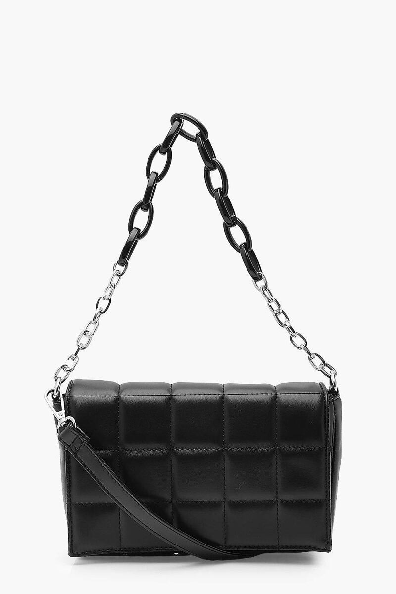 Boohoo Pu Quilted Cross Body Bag With Chunky Chain NL WOMEN Women ACCESSORIES Womens BAGS