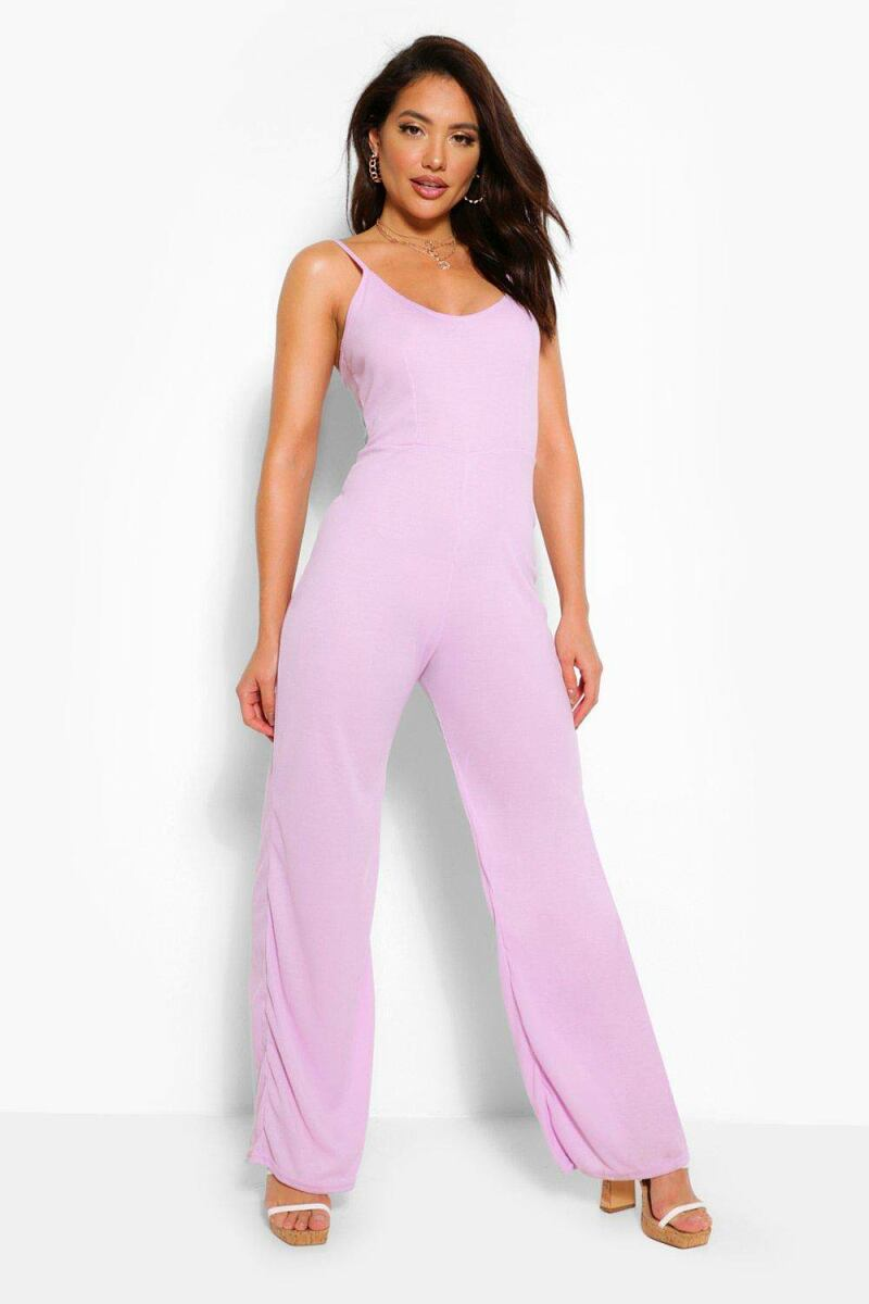 Boohoo Ribbed Strappy Wide Leg Slouchy Jumpsuit NL WOMEN Women FASHION Womens JUMPSUITS