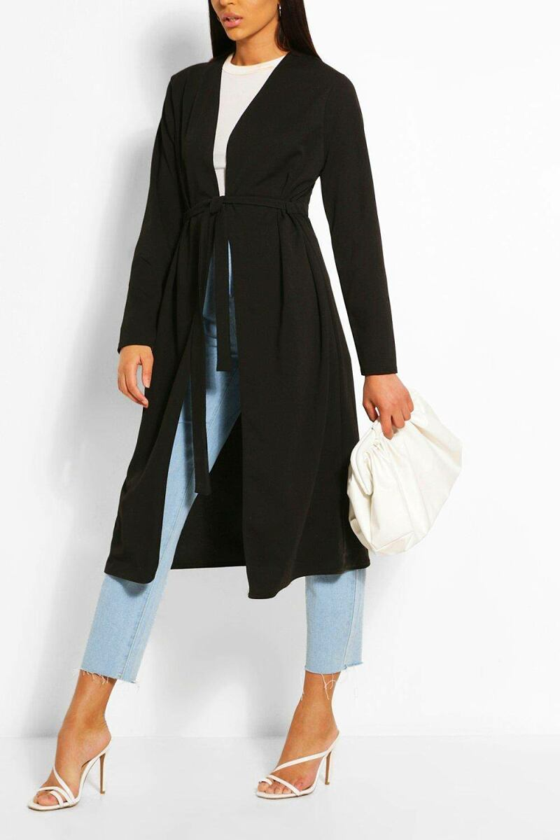 Boohoo Ruched Detail Belted Duster Coat NL WOMEN Women FASHION Womens JACKETS
