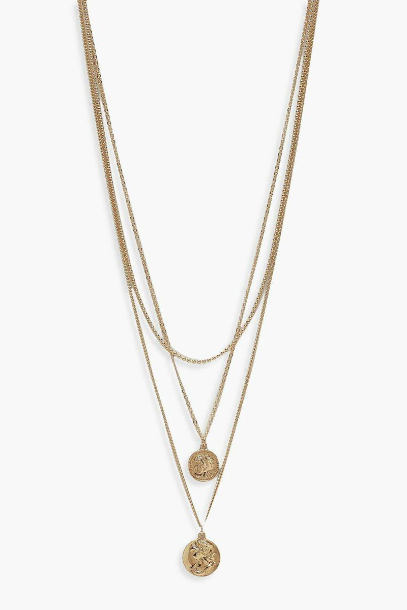 Boohoo Simple Coin Layered Necklace NL WOMEN Women ACCESSORIES Womens JEWELRY
