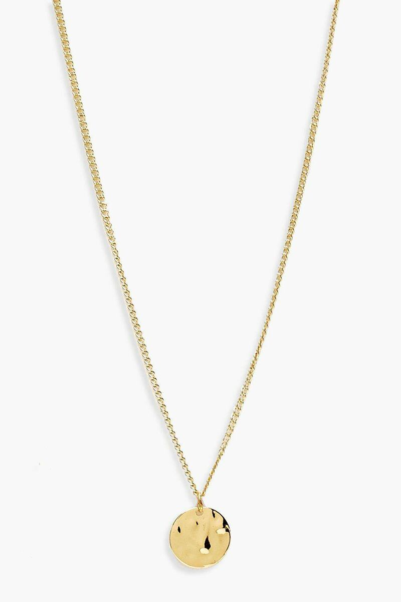 Boohoo Simple Hammered Coin Necklace NL WOMEN Women ACCESSORIES Womens JEWELRY