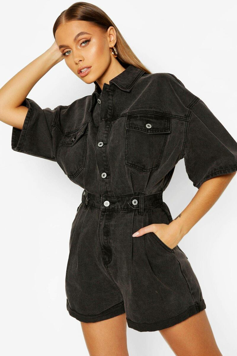 Boohoo Waist Detail Denim Romper NL WOMEN Women FASHION Womens SHORTS
