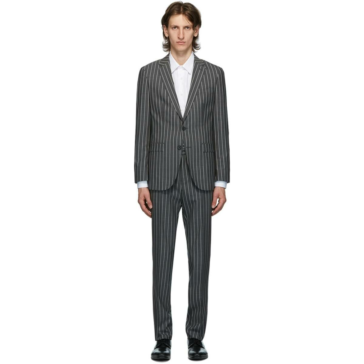 Boss Grey Striped Novan Suit Ssense USA MEN Men FASHION Mens SUITS