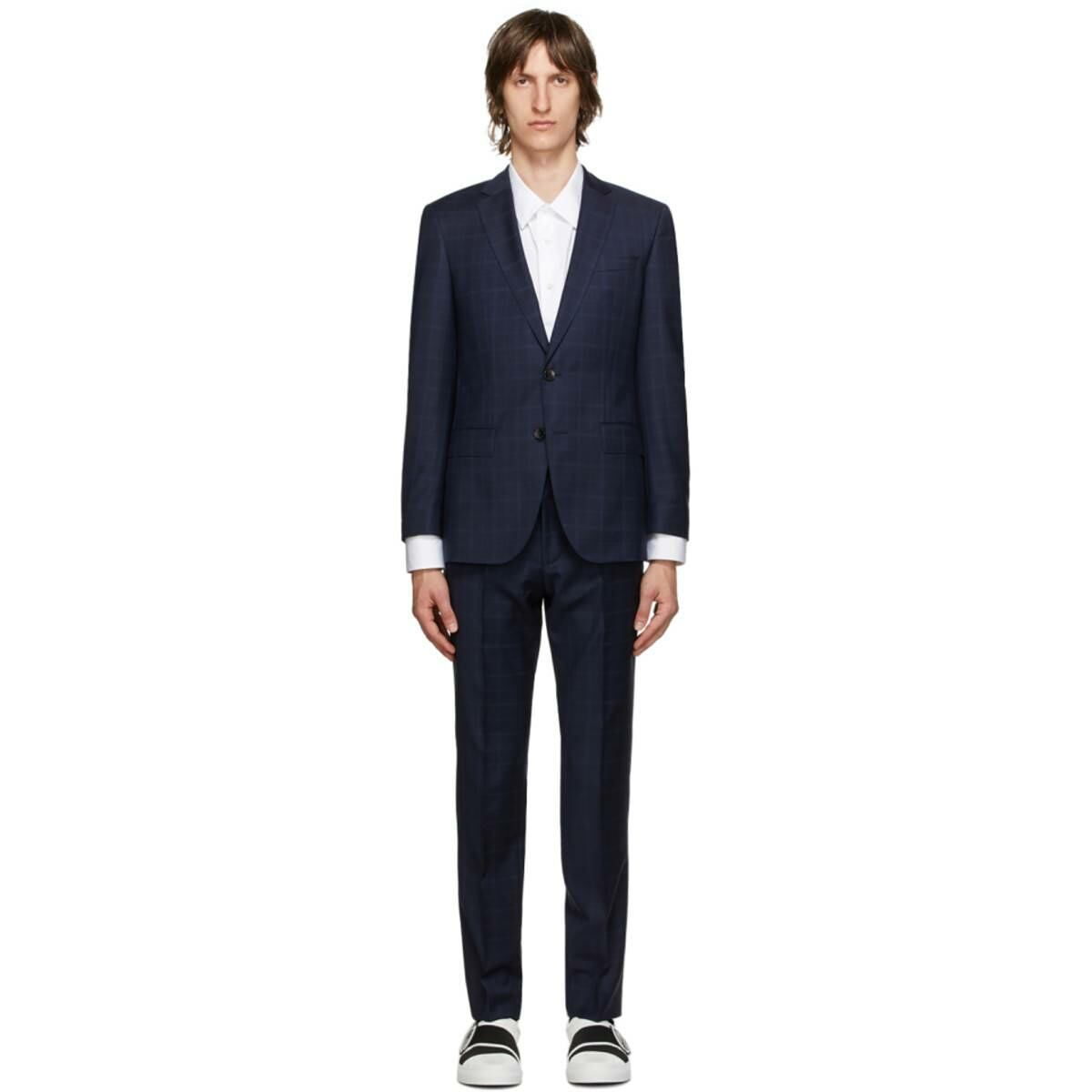 Boss Navy Checked Huge6 Genius5 Suit Ssense USA MEN Men FASHION Mens SUITS