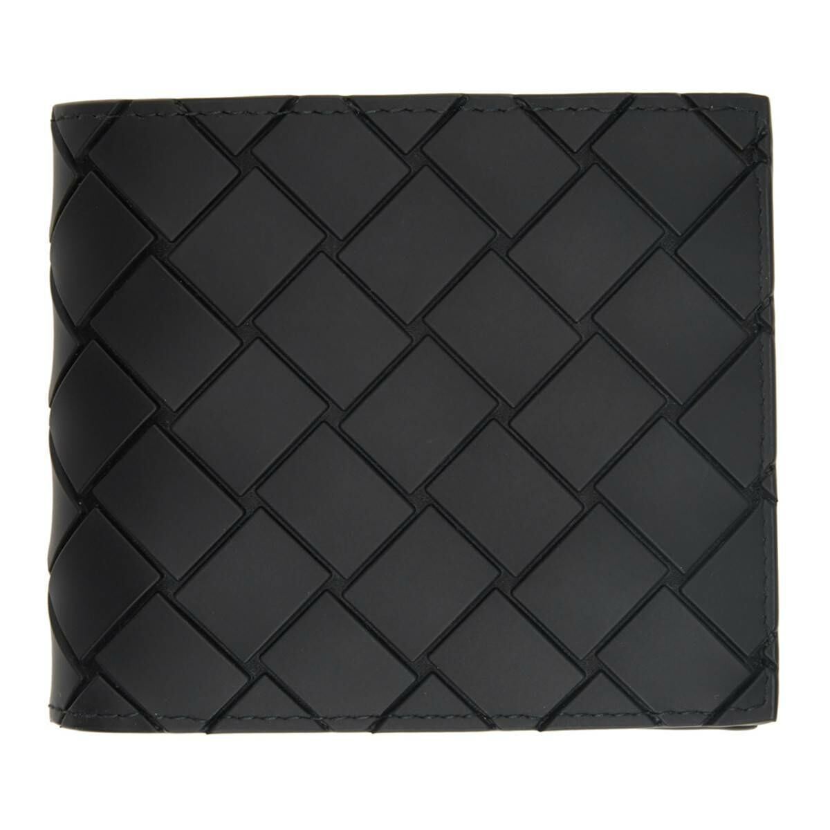 Bottega Veneta Black Rubber Intrecciato Bifold Wallet Ssense USA MEN Men ACCESSORIES Mens WALLETS