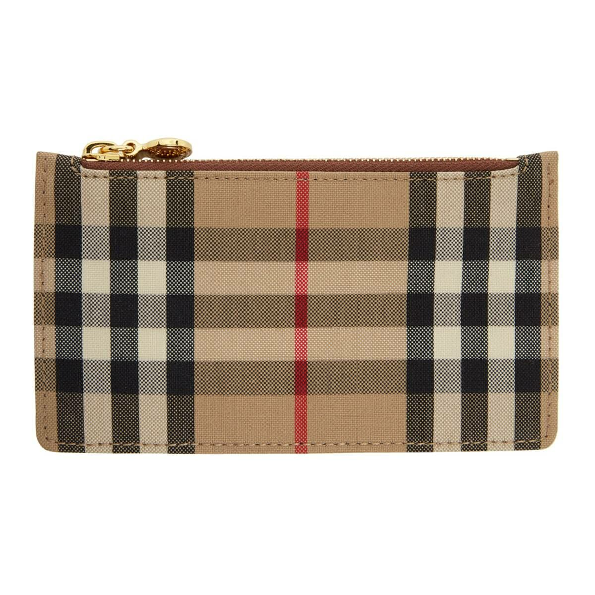 Burberry Beige and Brown Vintage Check Card Holder Ssense USA WOMEN Women ACCESSORIES Womens WALLETS