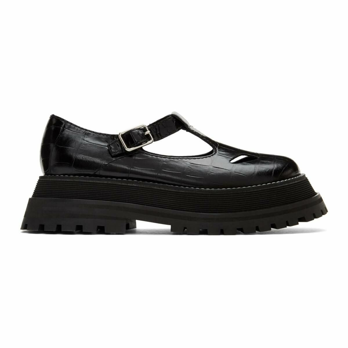 Burberry Black T-Bar Loafers Ssense USA WOMEN Women SHOES Womens LEATHER SHOES