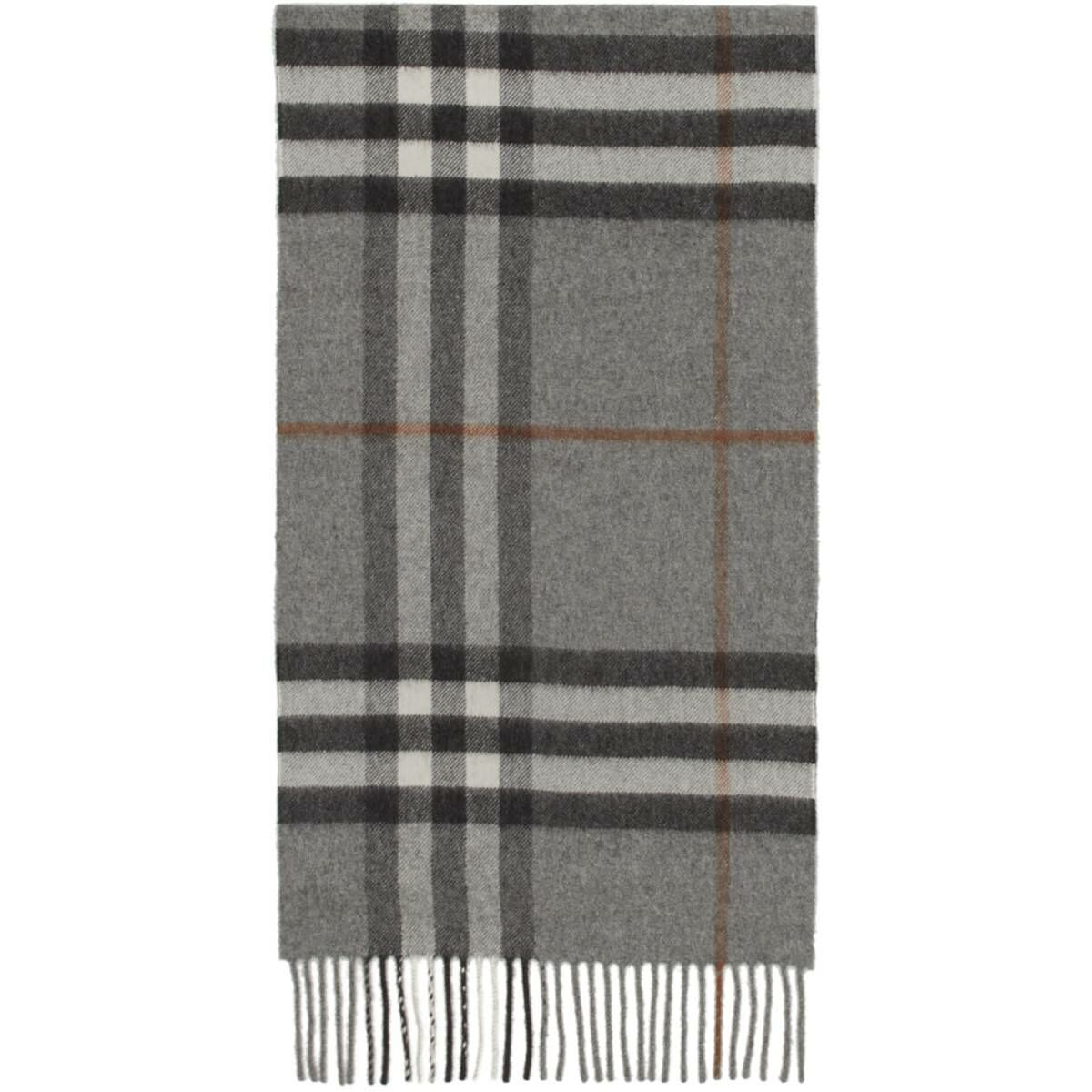 Burberry Grey Cashmere Classic Check Scarf Ssense USA MEN Men ACCESSORIES Mens SCARFS