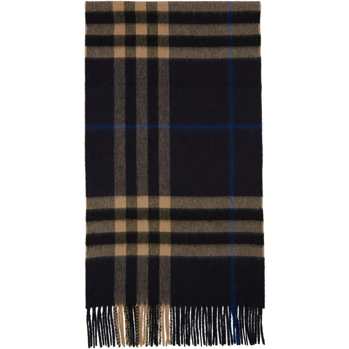 Burberry Indigo Cashmere Classic Check Scarf Ssense USA MEN Men ACCESSORIES Mens SCARFS